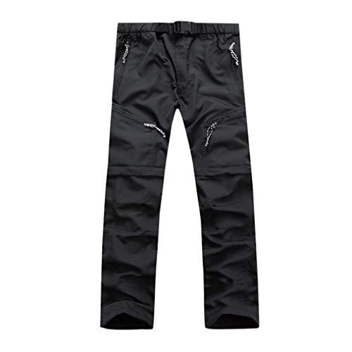 KPILP Männer Herbst Mode Sportbekleidung Schnelltrocknend Draussen Dünn abnehmbar Wasserdichte Hosen Übergröße Hose(Schwarz, XL