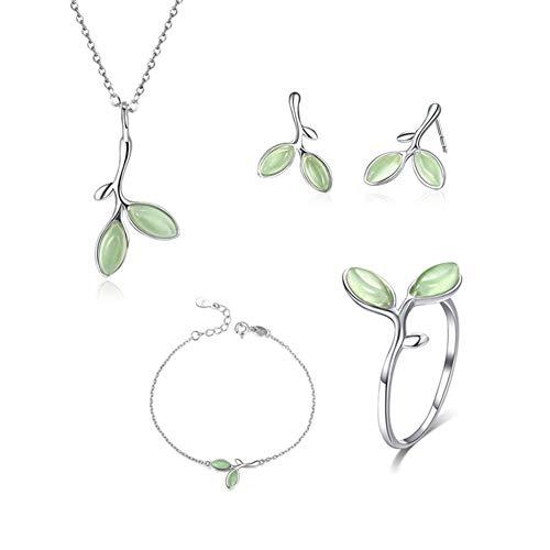 GYJUN Damen 925 Sterling Silber Ringe/Armband/Ohrringe und Halskette Schmuck Sets, Baum verlässt Knospen grüner Emailschmuck, Kommt mit exquisiter eleganter Schmuck schatulle