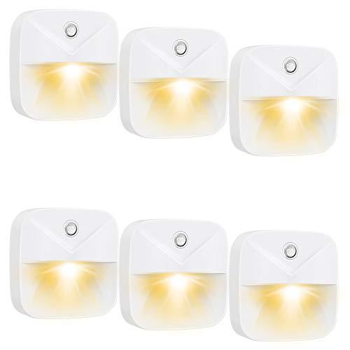 EXTSUD 6 Stücker Sensor Nachtlicht Intelligentes LED Nachtlicht Induktionsnachtlicht Warmes LED-Sensor Licht für Schlafzimmer, Wandschrank, Küche, Badezimmer, Treppen, Flur, Kinderzimmer