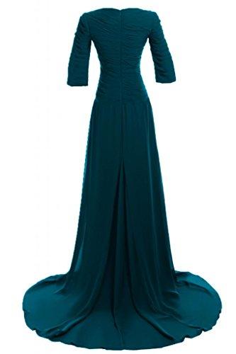Sunvary Elegant mit Aermel Abendkleider Lang Chiffon Ballkleider Partykleider Tuerkis
