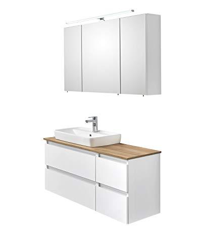 PELIPAL - BALU 13 - Badmöbel-Set 110 cm - Keramik-Aufsatzwaschbecken - Badset, Komplettset, 3-teilig mit LED Spiegelschrank usw. in weiß Glanz/Riviera Eiche quer, EEK: A+ (Spektrum A++ - A)