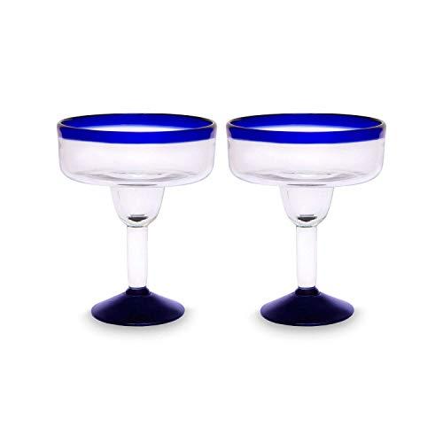 Glasmanufaktur Mitienda, Margarita Gläser 2er Set, Cocktailgläser, Blauer Rand, Gläser 16cm, Mundgeblasenes Glas Aus Mexiko, Frozen Cocktail Schalen, Glas-Recycling