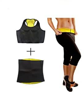 HOT SHAPERS Tricombo of Neotex Shape Wear Pant, Belt, Bra (Yellow Black, Small)
