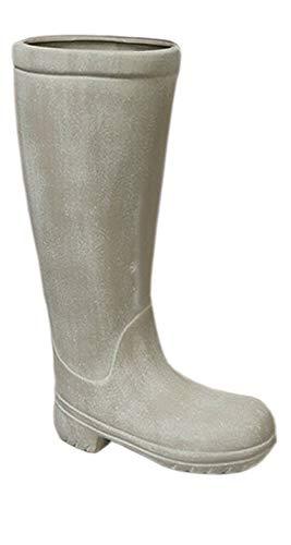 Casablanca - Schirmständer Stiefel aus Keramik - grau-matt mit Kunststoff-Topf innen - Europäische Herstellung -