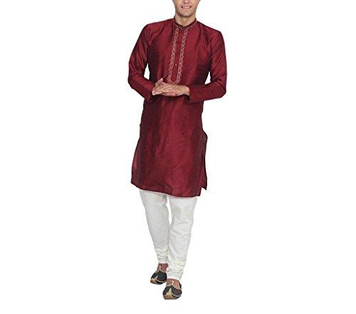 Ruchi Mart Indische traditionelle Wear Maroon Herren Designer Kurta Pajama Bollywood ethnischen Kleid (Kurta Herren Designer)