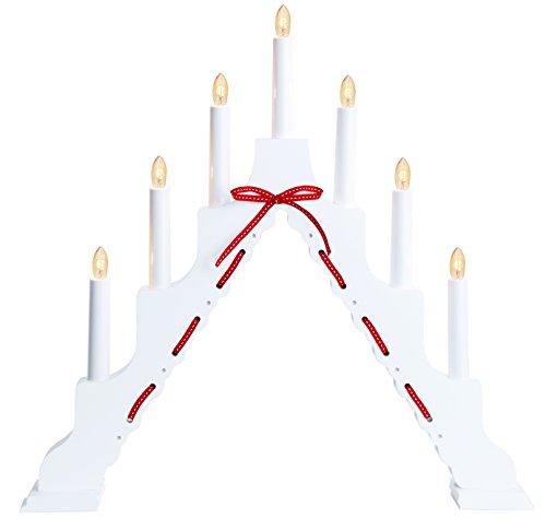 44 x 46 cm Star de madera candelabro 7-Light Vira, blanco/cinta roja