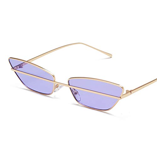 YHgiway Fashion Women Cat Eye Sunglasses Mirrored Flat Lenses Metal Frame Designer Butterfly Street Punk Eyewear YH68764,Gold/Purple