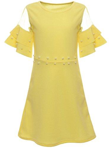 BEZLIT Mädchen Sommer Kleid Kunstperlen Prinzessin Fest Spitze Outfit 22602, Farbe:Gelb, Größe:128 (Neue Kunst Spitze)