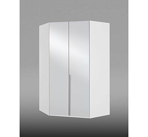 eckschrank mit spiegel Eckkleiderschrank, Eckschrank, Kleiderschrank, Schlafzimmerschrank, weiß, alpinweiß, Drehtüren, Spiegel, Spiegeltür, Beleuchtung, Licht