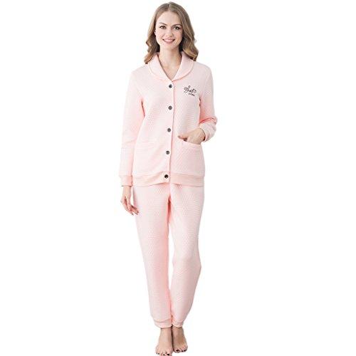 GWELL Ensemble de Pyjama Femmes Vêtement de Nuit Matelassé Doux Chaud Chambre Col Revers Manches Longues Hiver Rose
