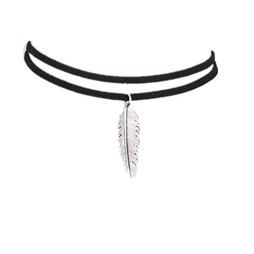 Sunnywill Frauen blattförmigen Anhänger Halskette Mode Doppel Leder Schnur Halskette für Damen Mädchen (Schwarz)