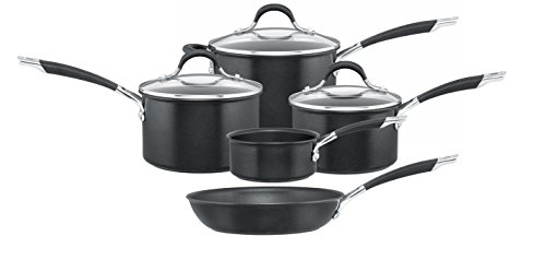 Circulon Momentum Milk Pan, Saucepans and Fry Pan, Black, Set of 5