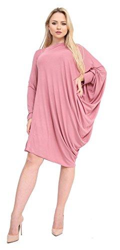 Momo&Ayat Fashions Mesdames Jersey UNE Épaule Latérale Ruché Manches Chauve-Souris Top EUR Taille 36-54 Rose