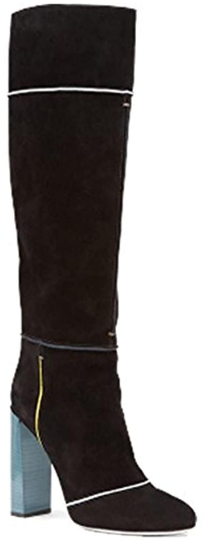Hiver de femmes en Europe et la grossier avec la et main et du genou Suede Boots noirB0761X8TC6Parent 034c61