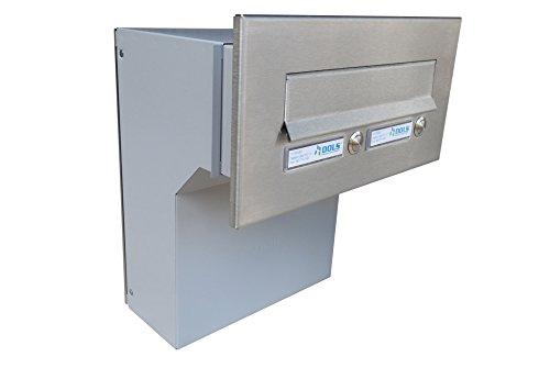 F-04 Edelstahl Mauerdurchwurf Briefkastenanlagemit zwei Klingeln und 2 Namensschildern (variable Tiefe) - LETTERBOX24.de