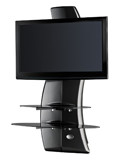 Meliconi Ghost Design 2000 (488067) (schwarz Karbon) , TV Wandhalterung 81-160 cm, (32-63 Zoll), max. 70 kg (20 kg für Glasauflagen), drehbar