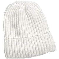 Sombrero cálido de otoño e Invierno Sombrero de Punto Pareja Femenina más Terciopelo Cabeza de cúpula Sombrero de Lana,White