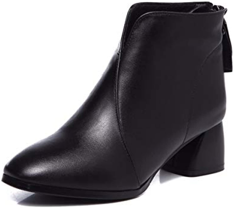 KOKQSX-Signore Gli Stivali di Cuoio Testa rossoonda Calore Moda Breve Stivali Chelsea stivali. 37 nero | Buon design  | Maschio/Ragazze Scarpa