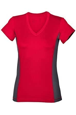 Hanes Ladies Sports Vee Neck T-Shirt Red