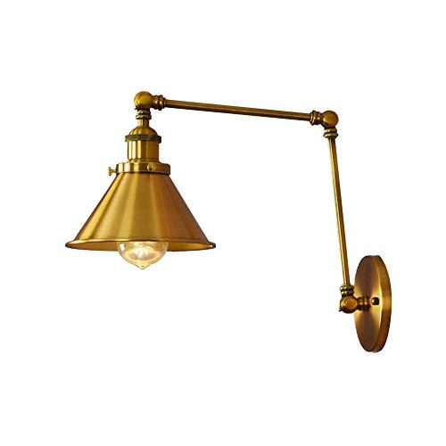 TopDeng Ajustable Lámpara de pared rocker, E27 Cableado Aplique pared Retro Industrial Estilo Metálico Accesorio de iluminación Sala de estudio Sala de estar Dormitorio-Dorado