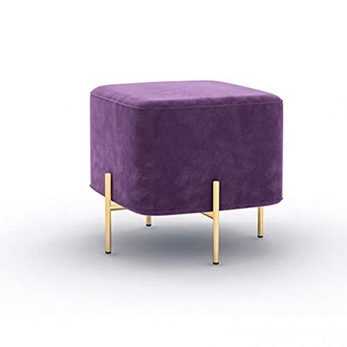 YCSD Fashion Square Fußbank & Ottoman, Goldmetallbeine Foyer Change Shoe Bench Wohnzimmer Couchtisch Hocker (Color : A5) - Chrom-leder Sitzbank
