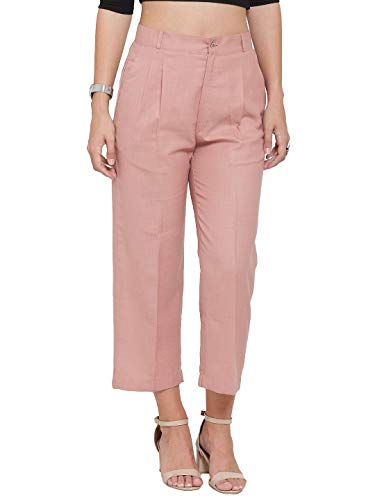 INDIBELLE Peach Solid Smart Straight Ankle Length Trouser.