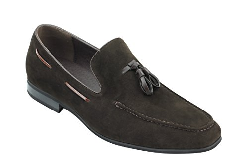 Xposed da uomo in finta pelle scamosciata tassel loafer smart casual formale guida slip on scarpe, brown, 46 eu