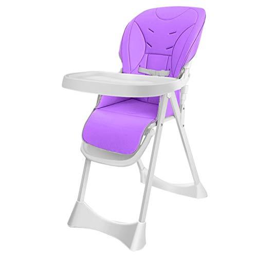 HUIQI Baby Esszimmerstuhl Kinder Multifunktionsklapp Bb Hocker tragbare Baby Stuhl Tisch und Stuhl Sitz braun atmungsaktives Tuch Sitzbezug + verstellbare Platte + verstellbares Pedal (Farbe : Lila)
