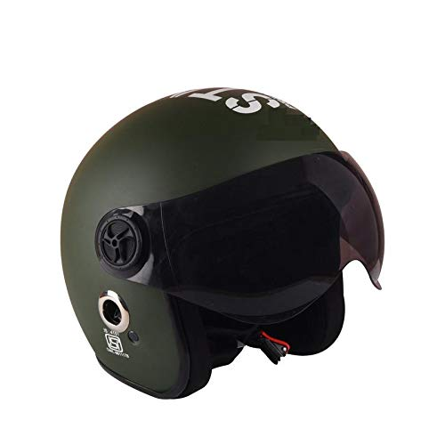 O2 Open Face Military Green Star1969 with Poly Carbonate Tinted Visor