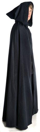 HEMAD Mittelalter Umhang mit Kapuze Wollfilz schwarz, braun, beige, rot, blau (One Size, schwarz) - 2