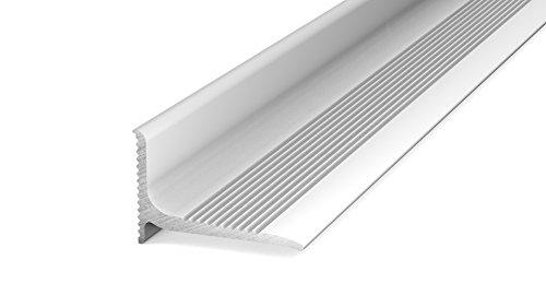 Prinz Aluminium - Wandanschlussprofil 290 - Abschlussprofil selbstklebend. Für Belagstärken ab 2 mm 20 x 13 mm - 2,50m Silber
