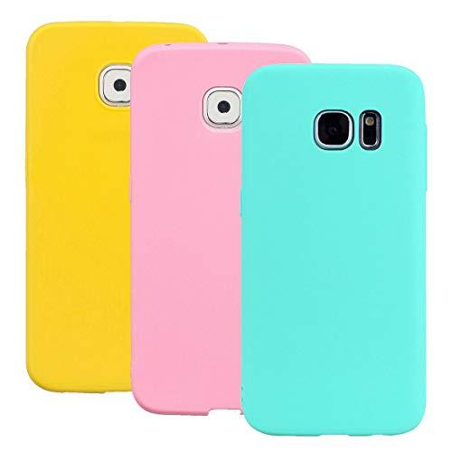 Misstars Silikon Hülle für Galaxy S6, Soft Flex TPU Case im Candy Design Ultra Dünn Matt Weich Handyhülle Anti-Stoß Kratzfeste Schutzhülle für Samsung Galaxy S6, Gelb + Rosa + Blau