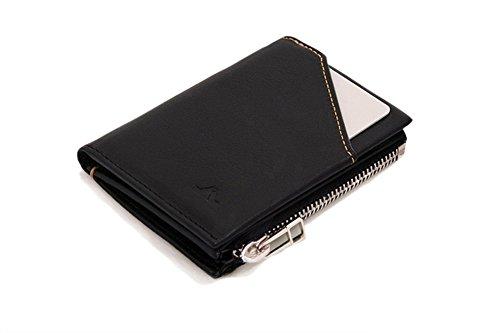 ROIK Zip - Cartera Delgada de Piel con Monedero de Cremallera para Hombre, Color Black