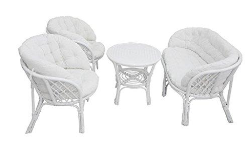 Salotto completo bahama bianco cuscini interi divano +2 poltrone + tavolino in vimini