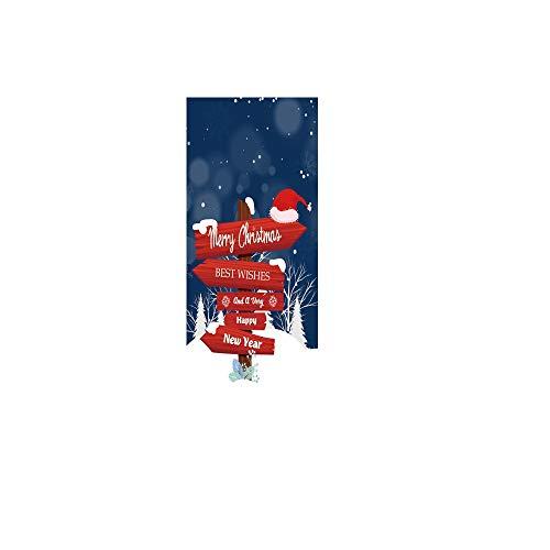 ODJOY-FAN Weihnachten Straße Zeichen Tür Abdeckung Karikatur Weihnachten Wandaufkleber Urlaub Abdeckungen Aufkleber Dekoration 30-Zoll durch 6,5-Fuß(Multicolor,1PC)