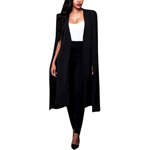 LAEMILIA Damen Jacke Poncho Cape Elegant Lang Geöffnet Knielang Damenmmode Fashion Vintage Umhang Blazer Mantel (Schwarz Blazer Jacke Sport Mantel)