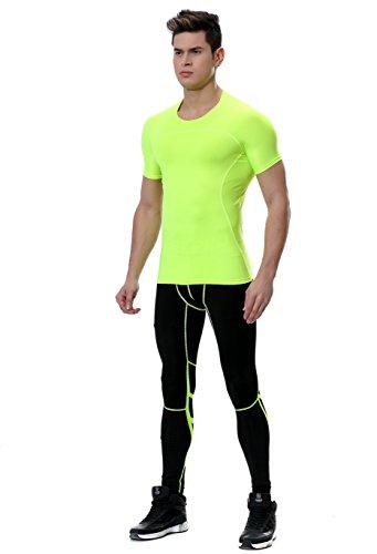 urchoiceltd® QX Herren Short Sleeve Skin Tight Athletic Kompressions Sport Laufen Quick Dry Stretch T Shirt + Running Hose Base Layers Tight Fahrrad Hose Kleidung Set für Größe Alter S-XL