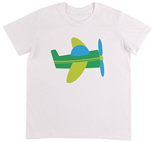 Blau Flugzeug Unisex Kinder Weiß T-shirt Jungen Mädchen Größe L (Flug 232)