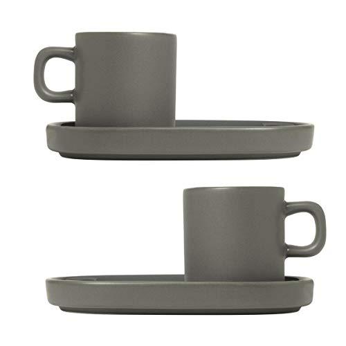 Blomus - Espressotassen, Mokkatassen -MIO- Pewter - Keramik - grau - 50 ml