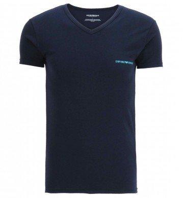 Emporio Armani -  T-shirt - Collo a V  - Maniche corte  - Uomo blu XL