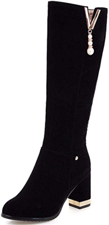 Botas de invierno botas de tacón alto de biselado botas de gamuza