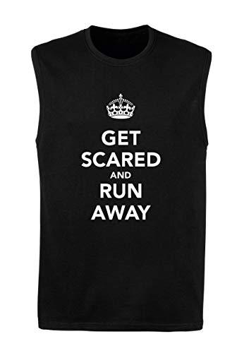 T-Shirt Mann armellos Schwarz TKC3807 GET Scared and Run Away
