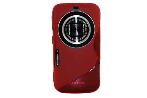 MoreGift4U Ultra Slim Thin TPU Silikon-Gel Soft Jelly Schutzmaßnahmen zurück Fall-Abdeckung für Samsung Galaxy S5 Zoom Zoom K SM - C115 + Displayschutzfolie - Red