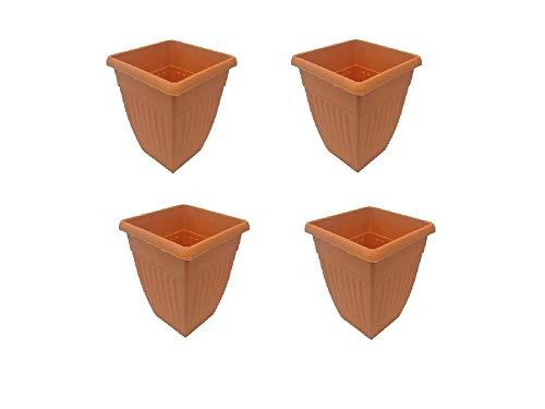 Durable tool - vaso quadrato in plastica per piante, altezza 42 cm, motivo atene, confezione da 4