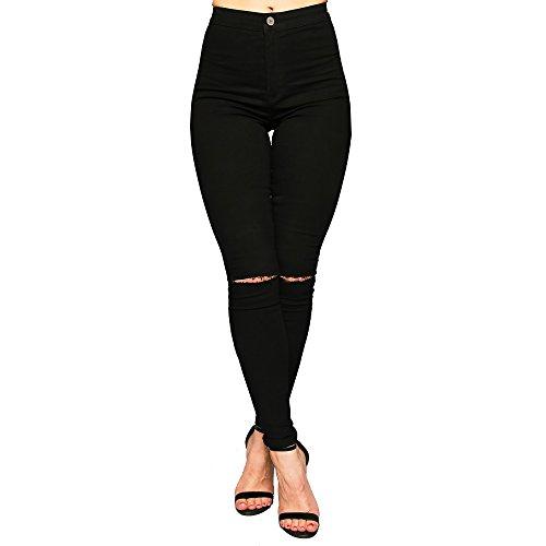 SCO Skinny-Jeans für Damen mit 2Taschen, Denim, elastisch, hohe Taille, große Größen Gr. 44, Black Knee Ripped (Faded Denim Rock Jean)