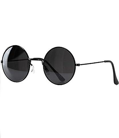 caripe runde Lennon Sonnenbrille Retro Vintage Brille (lo111 - schwarz - schwarz getönt)