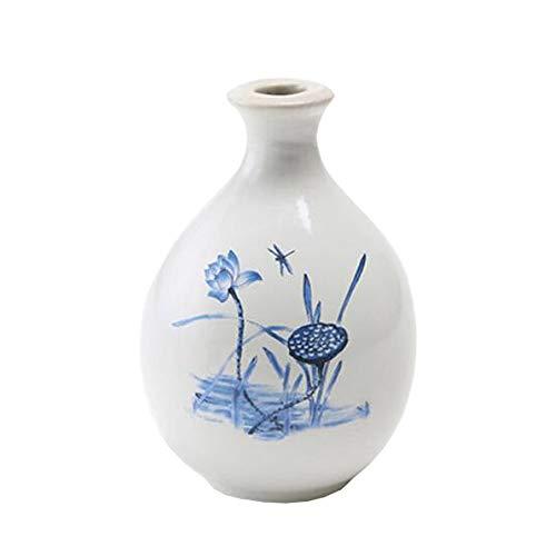 Mini chinesische Keramik Blumenvase Bud Vase Weinflasche, ideales Geschenk für Home Office, Dekor, Tischvasen, Bücherregal Ornamente Flaschen, Lotus Weiß