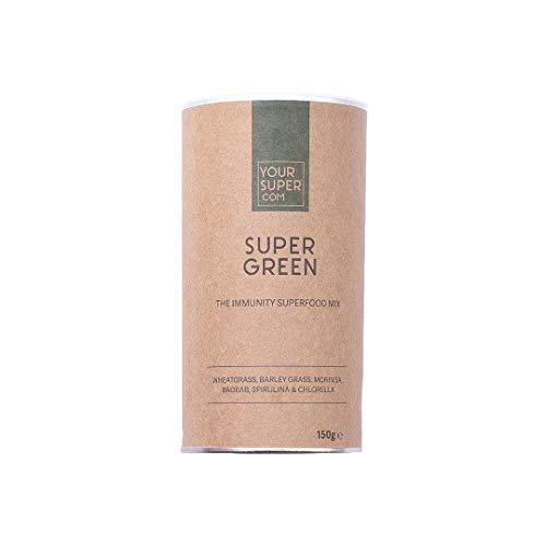 Your Superfoods Super Green Superfood - Bio Vegan Mix Pulver Mischung Trinkpulver aus Weizengras, Gerstengras, Spirulina und Chlorella 150g - Superfood-mix