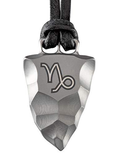 D-Vision-Jewelry Herrenkette Herrenschmuck Halskette Titan Faustkeil Sternzeichen Steinbock Lederband handgearbeitet (50)