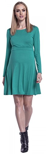 Happy Mama. Damen 2in1 Umstands Still-Skaterkleid Lagendesign Lange Ärmeln. 128p Teal